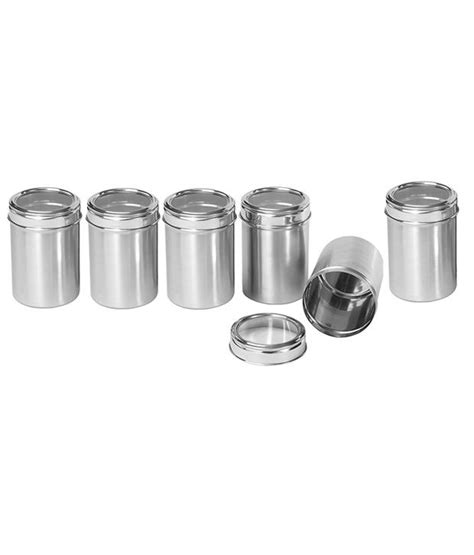 stainless steel kitchen canisters dynore stainless steel kitchen storage canisters with see through lid set of 6 buy at