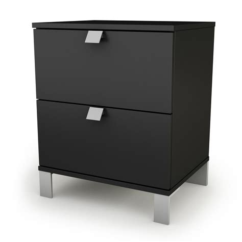 13 Inch Wide Nightstand South Shore Spark Stand Black 3270060