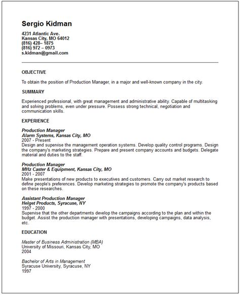 Production Manager Sle Resume by Production Manager Resume Exle Free Templates Collection