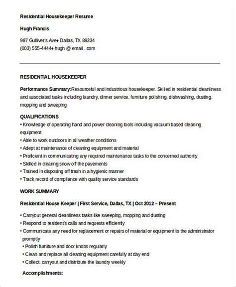 sle resume for housekeeping in hospital what you to when writing your housekeeper resume