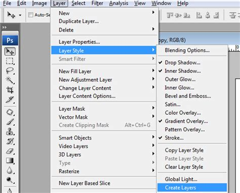 where is the shapes layer option in photoshop cs6 graphic design how to convert photoshop layer effects into separate