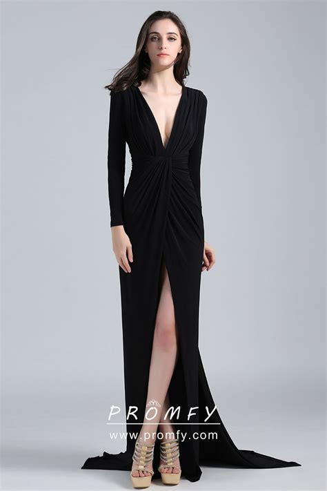 elegant sexy black jersey long sleeve thigh high slit