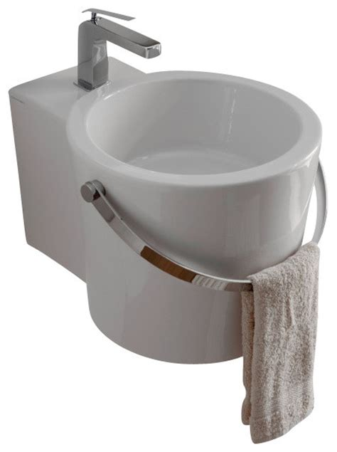 bucket for bathroom round white ceramic bucket wall mounted or vessel bathroom