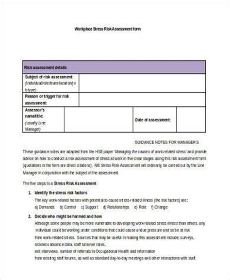 sle workplace risk assessment forms 8 free documents