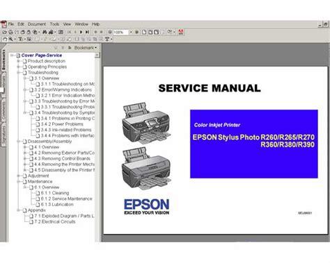 reset printer epson r390 epson r260 r265 r270 r360 r380 r390 printers service