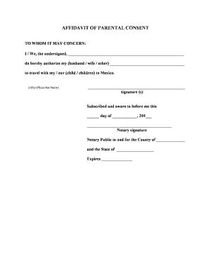 Parents Letter Of Consent For Scholarship Affidavit Of Parental Consent Form Fill Printable Fillable Blank Pdffiller
