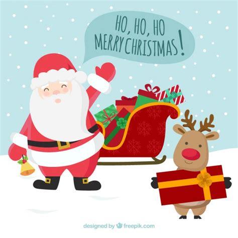 imagenes de navidad papa noel felicitaci 243 n de navidad de pap 225 noel y reno descargar
