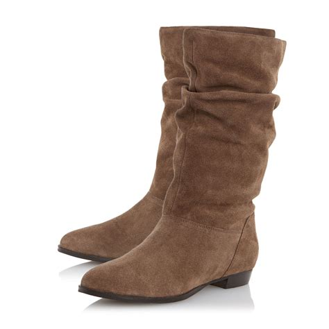 calf boots dune relissa slouch calf boots in brown lyst