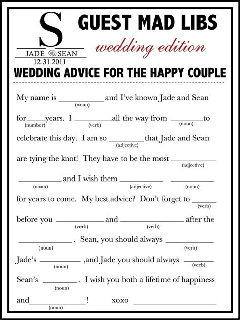 wedding mad libs template free my