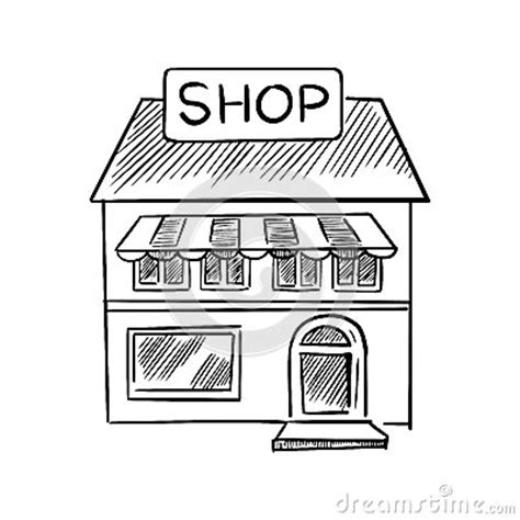 sketchbook shop store sketch with shop signboard stock vector image
