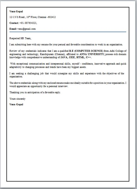 %name Cover Letter For Hr Fresher Job   Fresher hr executive resume model 103