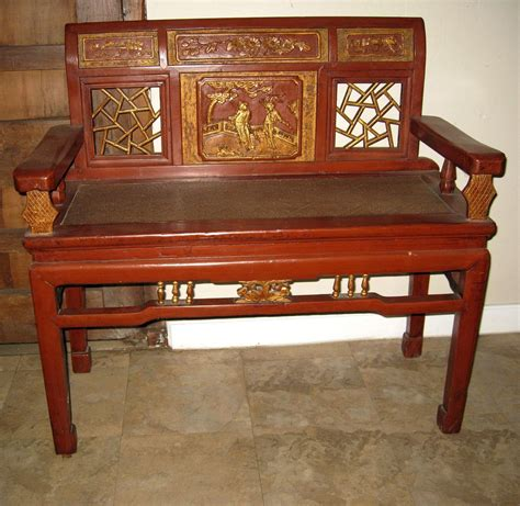 red wood bench chinese red gold lacquer wood bench from