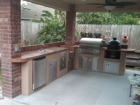 Italian Kitchen Island by Outdoor Kitchen Under Patio Cover