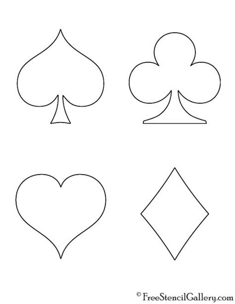 printable card suits playing card suits stencil free stencil gallery