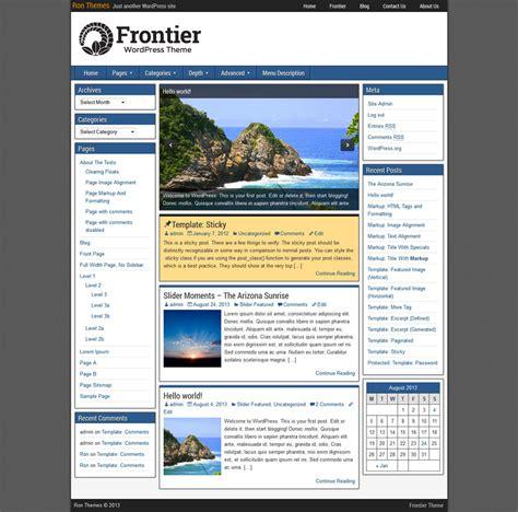 wordpress themes free one column frontier theme ronangelo
