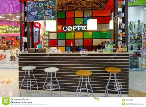 2d Furniture small cafe in the supermarket editorial stock image