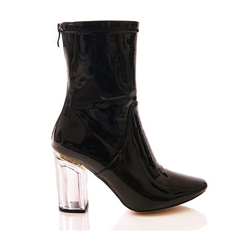 Zip Up High Heel Ankle Boots womens perspex clear heel ankle boots high heel zip