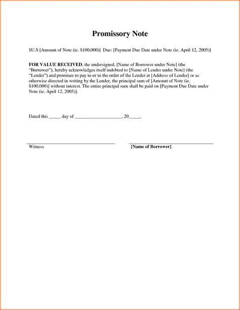 promissory note template canada exle of a promissory note copy how write a promissory