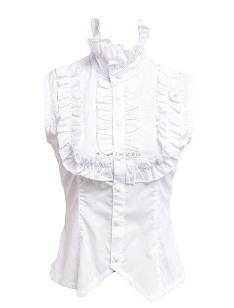 Olita Blouse ainclu womens white sleeveless stand collar ruffles cotton