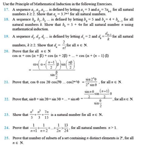 tutorial questions on mathematical induction important questions for class 11 maths ch 4 principles of