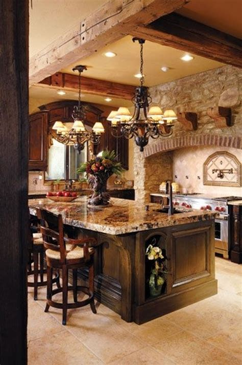 wood ceiling and rock wall 40 cozy house designs