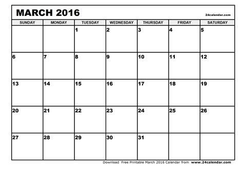 Calendar Printable 2016 Blank Blank March 2016 Calendar In Printable Format