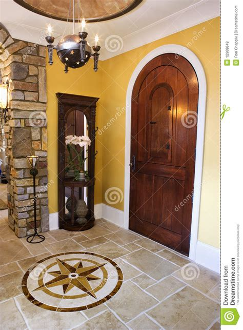 front entrance foyer front door and foyer of luxury home royalty free stock