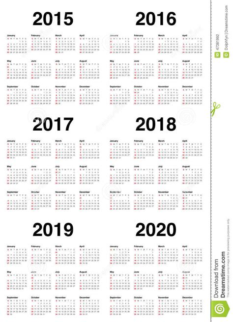Printable Calendar 2015 To 2018 | 7 best images of printable yearly calendar 2015 2016 2017