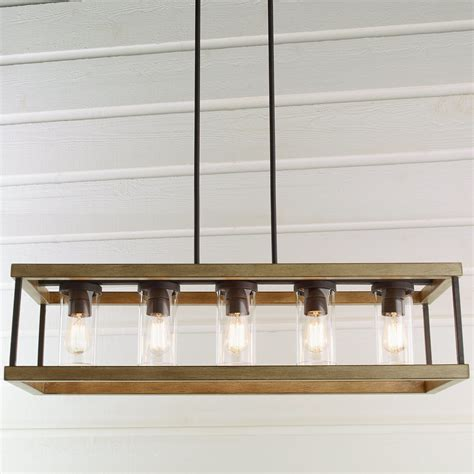 Indoor outdoor rectangular rustic chandelier shades of light