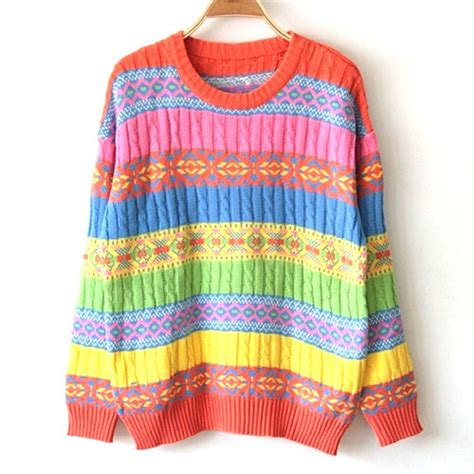 colorful sweaters retro colorful stripe knit sweater grxjy560226 on luulla