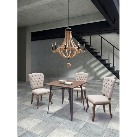 dining area with rustic style wood table and modern chairs zuo titus rustic wood dining table 109124 the home depot