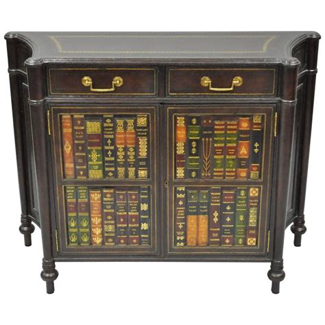 Maitland Smith Tooled Leather Faux Book Commode Or Book Cabinets For Sale