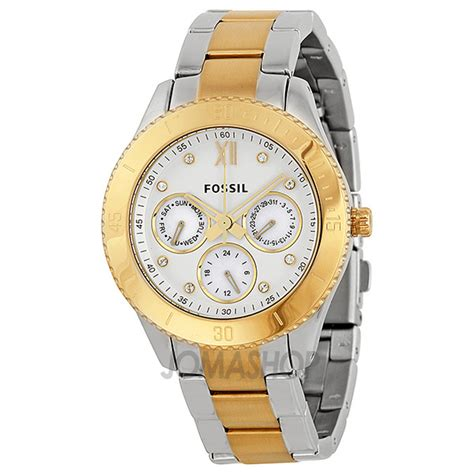 fossil stella multi function two tone stainless steel