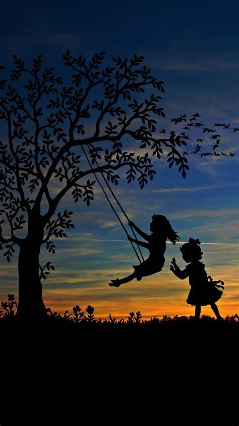 wallpaper playing kids girls children sunset