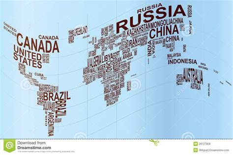 illustration of world map with country name world map with country name stock vector image 28127958