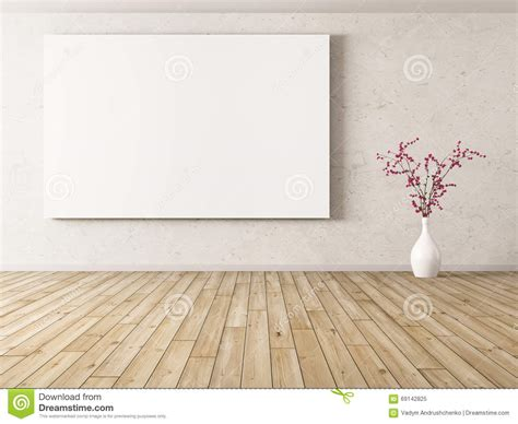 Background Interior by Interior Background With Big Poster 3d Rendering Stock
