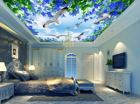 image of home decoration custom photo 3d ceiling murals wallpaper the sky gull the