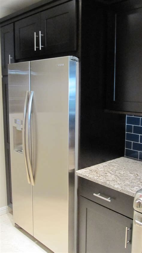 installing refrigerator cabinet side panels kitchen design ideas armchair builder blog build