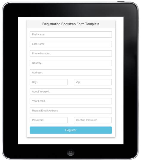 bootstrap feed template registration bootstrap form template free source code