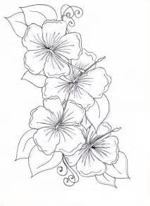 Hibiscus Flower  Drawing Coloring Page sketch template