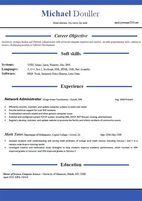 Scannable Resume Example by Resume Format 2016 12 Free To Download Word Templates
