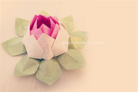 Advanced Origami Flower - modular origami lotus flower tutorial paper kawaii