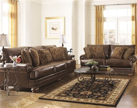 leather sectionals ashley furniture ashley brown leather durablend antique sofa by ashley