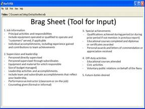 navy brag sheet template evaluation fitness report ppt