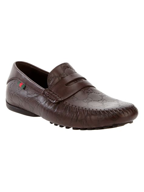 gucci brown loafers gucci monogram loafer in brown for lyst