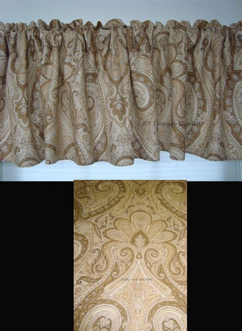 paisley valance curtains window valance m w new ralph lauren desert spa tan paisley