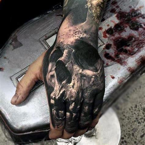 Kaos 3d Skull Finger 3d skull and finger for in black ink foot and smallish tattoos
