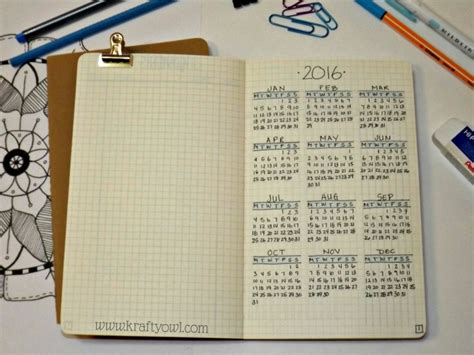 Calendar Journal Bullet Journal Monthly Calendar 2017