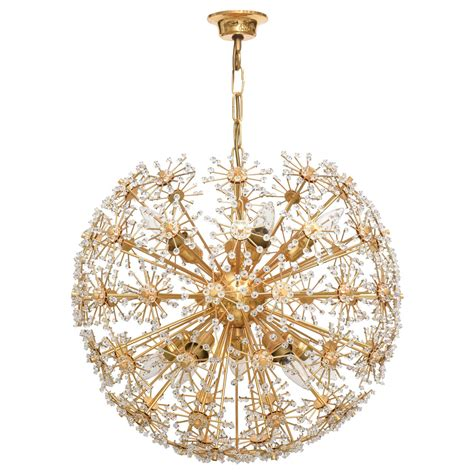 vinyage snowball lights vintage brass and snowball chandelier at 1stdibs