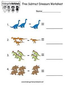 subtract dinosaurs worksheet free kindergarten learning